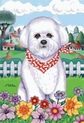 Outdoor Garden Flag Bichon Friese Dog Breed Spring Colors Small Flag made USA