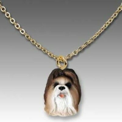 Dog on Chain SHIH TZU BROWN Resin Dog Necklace Jewelry Pendant CLEARANCE
