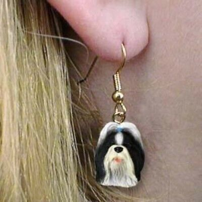 Dangle Style SHIH TZU B/W Dog Head Resin Earrings Jewelry CLEARANCE