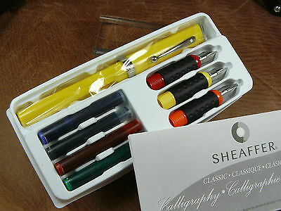 Sheaffer Yellow Calligraphy Mini Kit Complete Fountain Pen  3 Nibs + 4 Ink Cart.