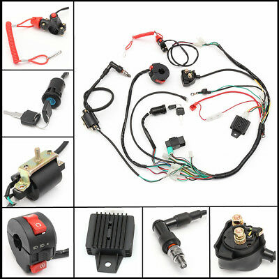 50CC - 125CC ATV Quad Dirt Bike Wiring Harness Loom Solenoid Coil Rectifier A Dirt Bike Wiring on