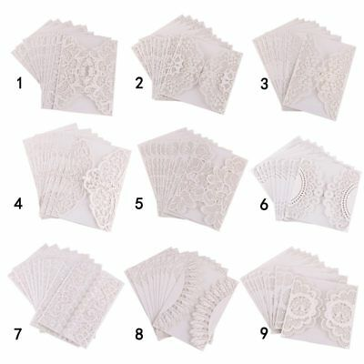 10pc/Set Floral Laser Cut Wedding Invitation Card Party Blank Inner Envelope US