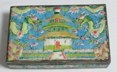 Old Cloisonne Repousse Enamel Chinese Temple & Dragons Designed Humidor Jar Box