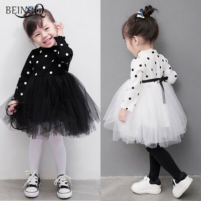Baby Kids Toddler Girls Winter Long Sleeve Party Flower Grils Princess Dress