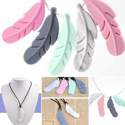 Feather Pendant Baby Teether Silicone Soother Chew Toy Teething Nursing Necklace