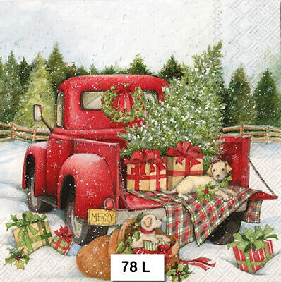 (78) TWO Individual Paper Luncheon Decoupage Napkins - CHRISTMAS RED TRUCK, TREE