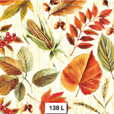 (138) TWO Individual Paper Luncheon Decoupage Napkins - AUTUMN LEAVES BERRIES
