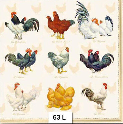 (63) TWO Individual Paper Luncheon Decoupage Napkins - CHICKENS BREEDS ROOSTERS