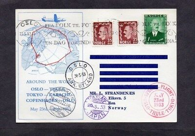 1953.special Around The World Illustrated Postcard.olso-Thule-Tokyo-Karachi-Oslo