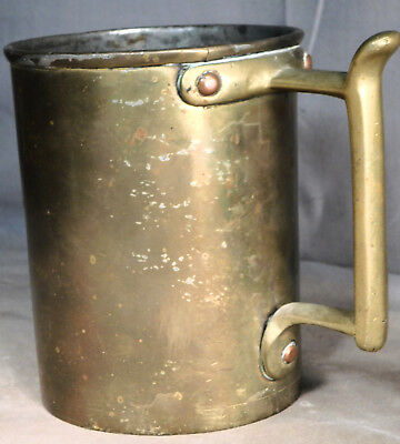 EARLY English Brass Tankard Mug Measure Copper Rivets Dovetail 1700's Georgian