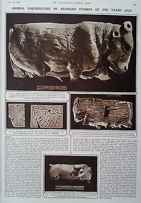 1950 Print Assyrian Ivories Discovered  At Nimroud-3 Centuries Of English Silver