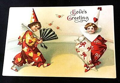 Clapsaddle Antique Embossed Valentine Postcard Boy & Girl in Clown Outfits Fan