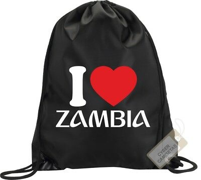 I Love Zambia Mochila Bolsa Saco Gimnasio Backpack Bag Gym Zambia Sport