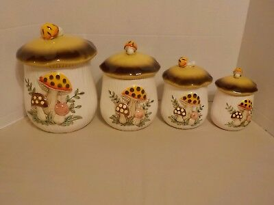 """MERRY MUSHROOM"" Vintage Sears Roebuck & Co Japan 4 Piece Canister Set"