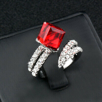 Micro Paved Cubic Zirconia With Big Red Blue Square Cube Crystal Rings For Women