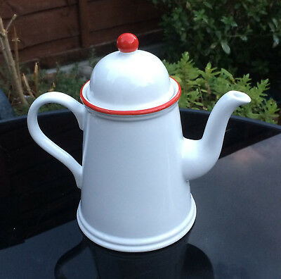 VINTAGE: ARTHUR WOOD COFFEE POT-WHITE WITH RED TRIMS-1960-70's-VGC-COLLECTABLE