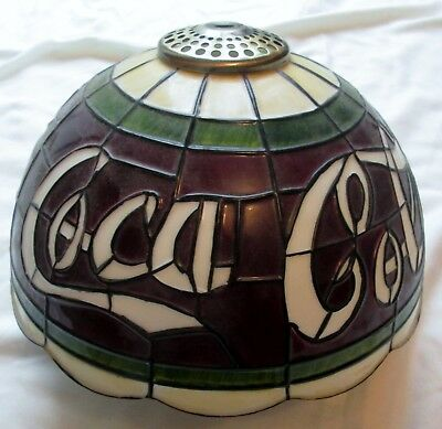 Tiffany Style Coca Cola Stain Glass Molded Plastic Shade  Lamp