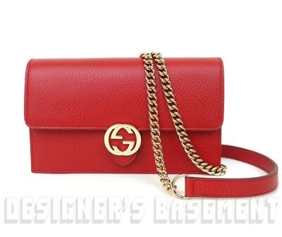 7953727e6e6c GUCCI red Rosso Pebbled Leather INTERLOCKING G Mini CHAIN bag wallet NWT  Authent
