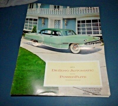 1954 DeSOTO SALES BROCHURE Fold-Out From Green Motors, Adrian, MI VG/NM