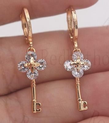 18K Gold Filled - 1.2'' Key Flower Cross Round White Topaz Gems Dangle Earrings