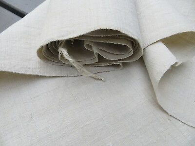 "Antique  Handwoven Natural   Linen Fabric 26  ""by 2.19 Yards Unused"