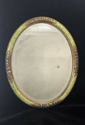 Antique OVAL WALL HANGING MIRROR Floral Green 1920s ART NOUVEAU Original Glass