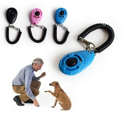 Pet Dog Cat Button Click Clicker Trainer Training Obedience Aid Wrist Strap New