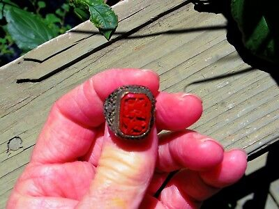 Copper Cinnabar Ring Unisex Adjustable Jewelry Art Deco Period China Export
