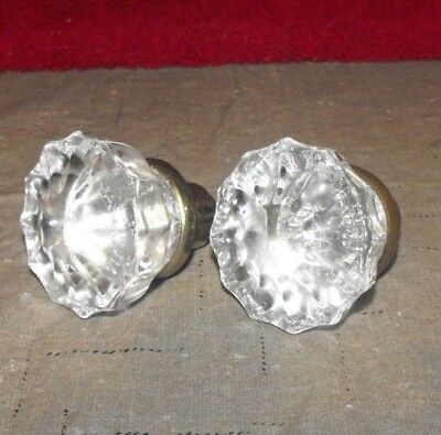 PAIR of VINTAGE ? GLASS DOOR KNOBS 2 lot A