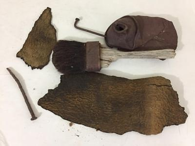 items found in an old silver mine in Tonopah Nevada tool brush can nails antique
