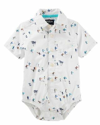 OshKosh B'Gosh Infant Boys Surfer Short Sleeve Button-Up Bodysuit - NWT shirt
