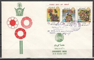 Persia, Scott cat. 1920-1922. Children`s Week, Flowers & B/fly First day cover.