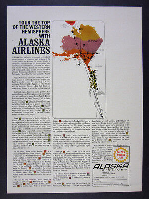 1968 Alaska Airlines 29 destinations from seattle route map vintage print Ad