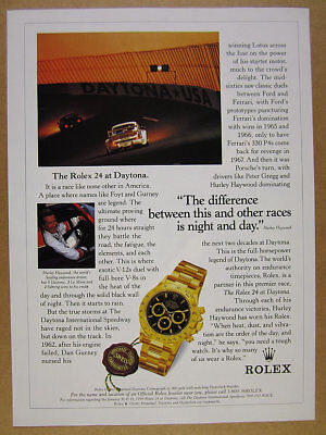 1999 hurley haywood photo Rolex Daytona Cosmograph watch vintage print Ad