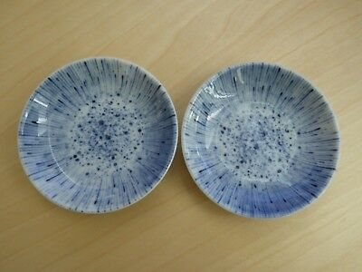 """2 Pcs. Japanese 4""""D Sushi Soy Sauce Dipping Dishes Porcelain Blue/ Make in Japan"""