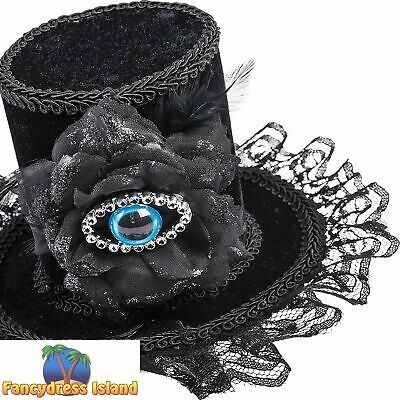EVIL EYE MINI TOP HAT WITH HAIRCLIP halloween ladies fancy dress accessory