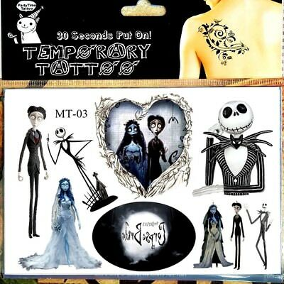 Corpse Bride Temporary Tattoo Sheet Gothic Nightmare Before Xmas Jack Skeleton