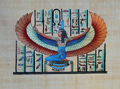 """Egyptian Papyrus - Hand Made Artwork - 9"""" x 13"""" Ancient Art - Winged Isis"""