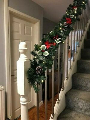Pre Lit Silver Luxury Staircase Christmas Garland Warm White Lights 1.8m & 2.7m
