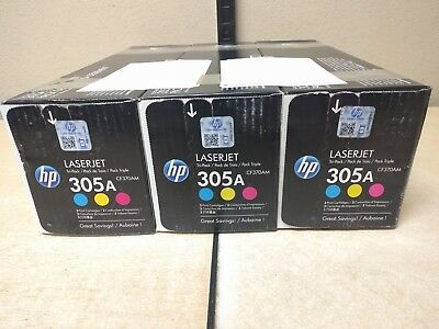 Tri Pack of Genuine HP 305A Print Cartridge - C/M/Y - CF370AM - For 300 - New