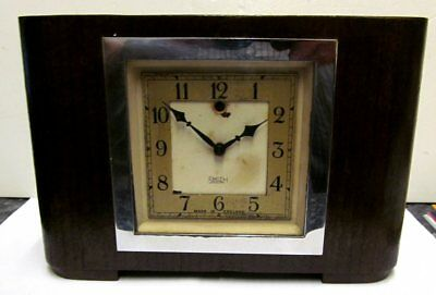 Vintage Smiths SEC Sectric Electric Mantle Clock Oak Veneer & Chrome Circa 50's