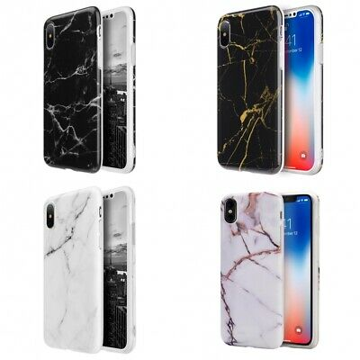For Samsung Galaxy S9 S8 Plus Note 8 Marble Case TPU Skin Cover Black White