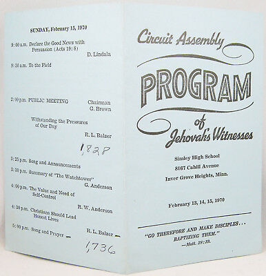 1970 Circuit Assembly Program INVER GROVE HEIGHTS, MINNESOTA Watchtower Jehovah