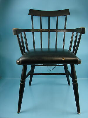 Vintage Antique Shelby Williams Black Wooden Windsor Like Sack Back Chair