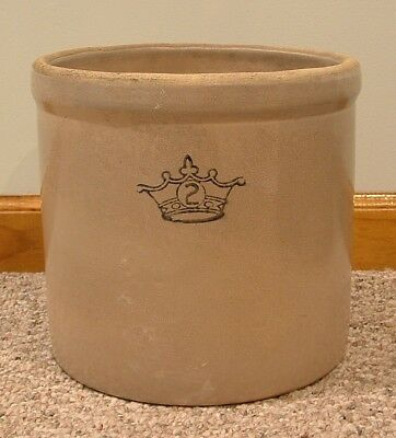 Vintage Two Gallon Robinson Ransbottom Crown Stoneware Crock