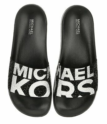 cb6331c6ea4e NIB Michael Kors Gilmore Rhinestone Slides Logo Black Optic White Women s  ...