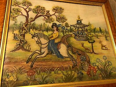 19TH C NEEDLEPOINT Sampler Embroidery & Painting Horse Deer Folk Art Signed