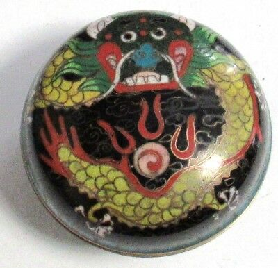Small Chinese Cloisonne Enamel Dragon Trinket Snuff Pill Box