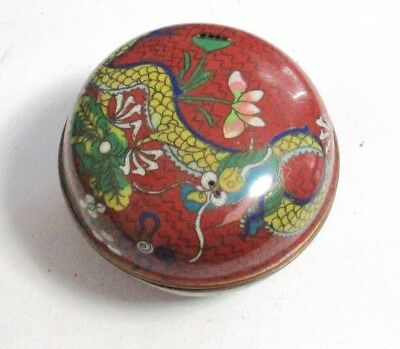Chinese Cloisonne Red Enamel Dragon Trinket Snuff Pill Box