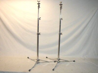 2 Gorgeous Vintage 1967 Ludwig Model 1400 Flat Base Chrome Plated Cymbal Stands